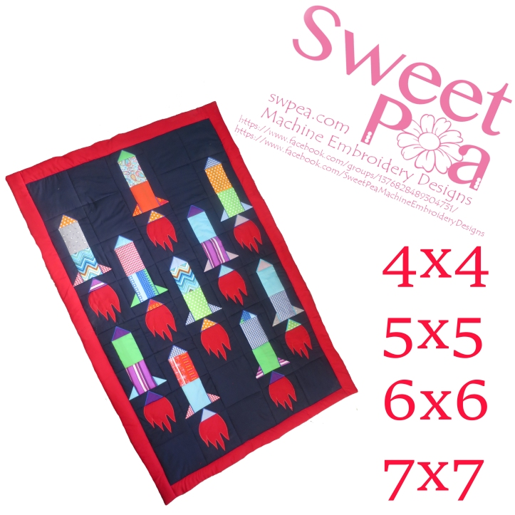 Rocket quilt 4x4 5x5 6x6 7x7 in the hoop machine embroidery design