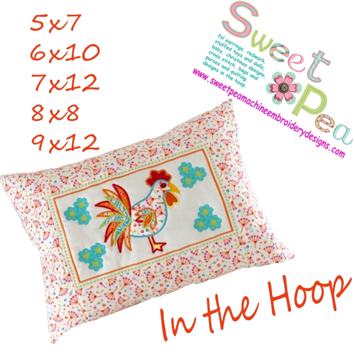 Rooster cushion 5x7 6x10 7x12 8x8 9x12 in the hoop machine embroidery design
