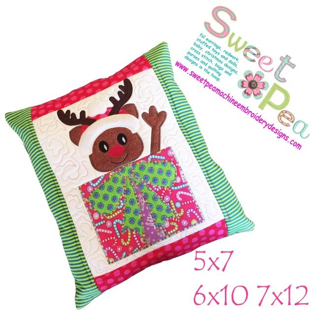 Rudolf cushion 5x7 6x10 7x12 in the hoop machine embroidery design