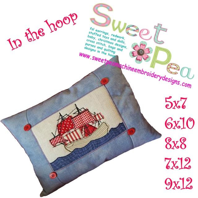 Sailing ship cushion 5x7 6x10 8x8 7x12 9x12 in the hoop machine embroidery design