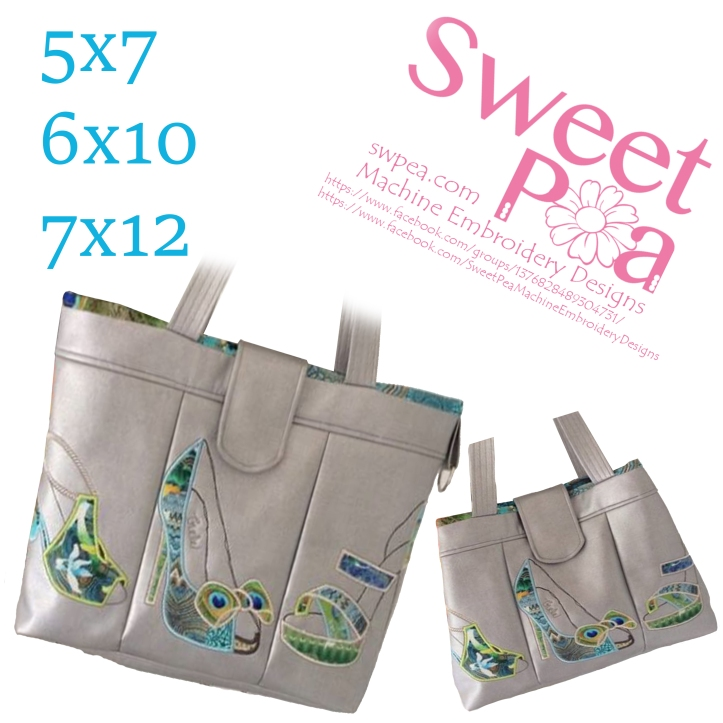 Shoe bag 5x7 6x10 7x12 in the hoop machine embroidery design
