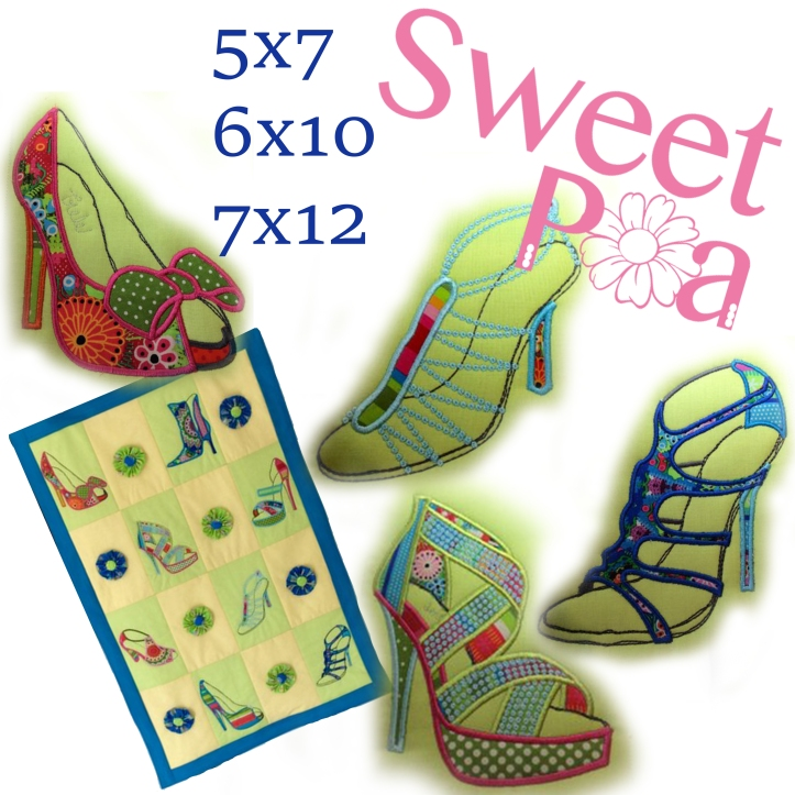 Shoe blocks and quilt 5x7 6x10 7x12 machine embroidery design