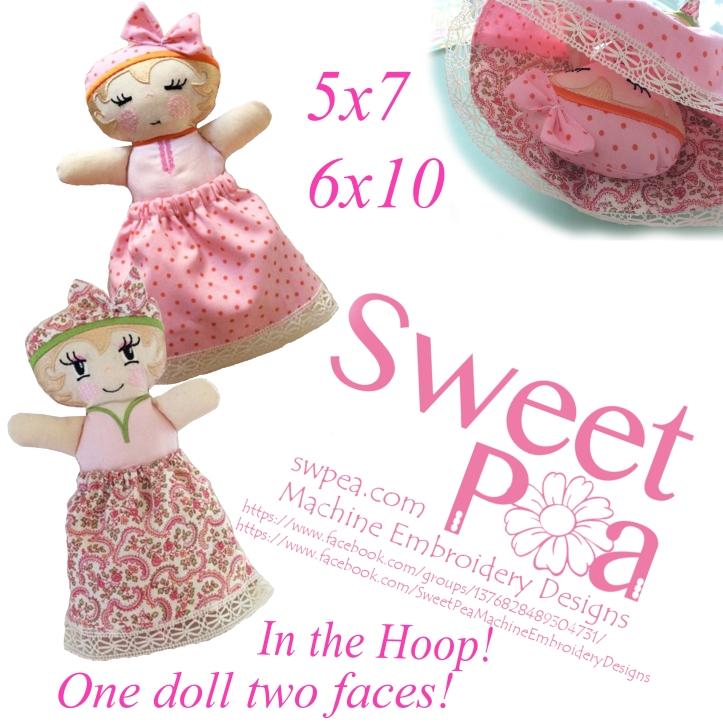 Sleep doll in the hoop 5x7 6x10 machine embroidery design