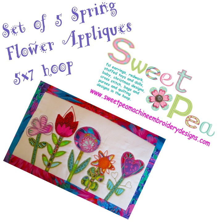 Spring flower applique set of 5 5x7 in the hoop machine embroidery design