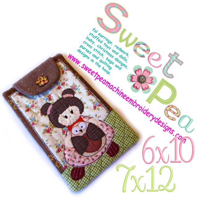 tablet case with strap japanese girl and owl 6x10 and 7x12