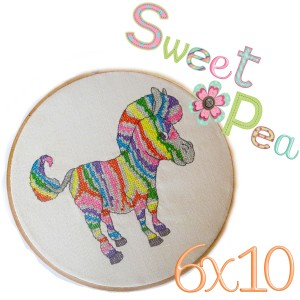 zebra rainbow cross stitch in the hoop 6x10 machine embroidery design