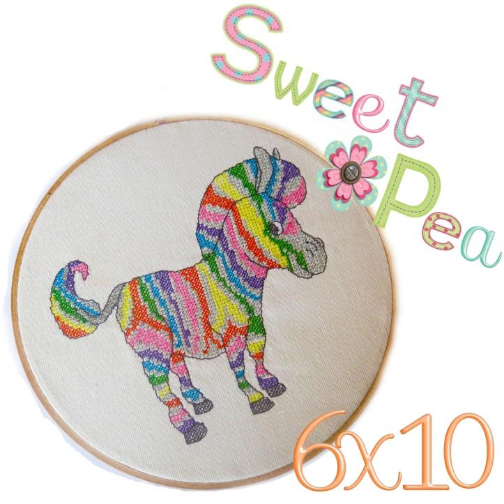 zebra rainbow cross stitch in the hoop 6x10 machine embroidery design
