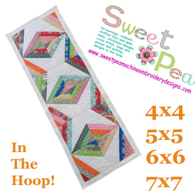 Diamond stripe table runner 4x4 5x5 6x6 7x7 in the hoop machine embroidery design.jpg