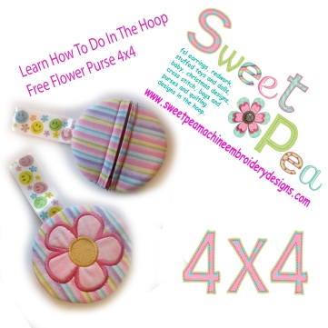 Learn how to do in the hoop Free flower purse 4x4 machine embroidery design
