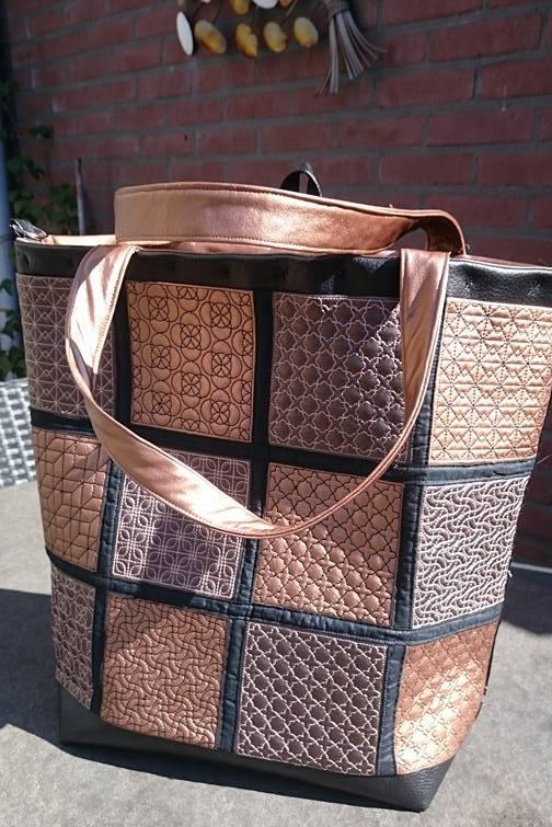 geometric tote bag machine embroidery in the hoop
