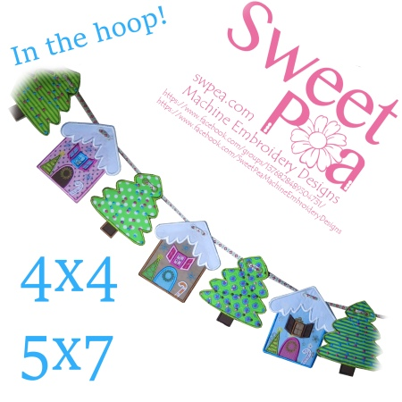 machine embroidery, machine embroidery designs, in the hoop, Christmas, Bunting