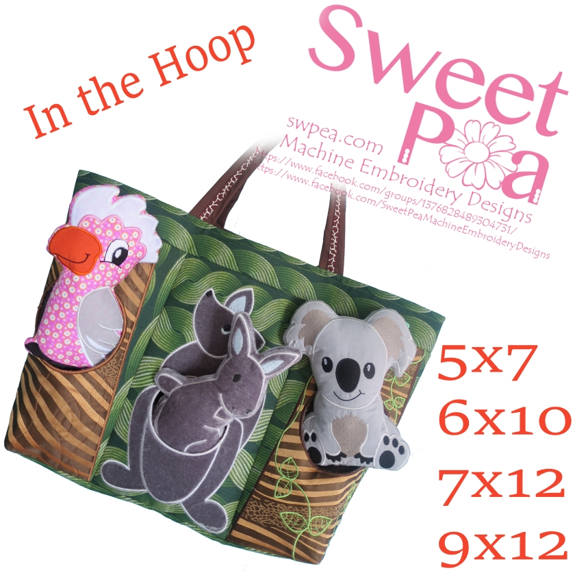 machine embroidery designs in the hoop australian animals bag