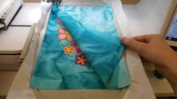 machine embroidery in the hoop frangipani mugrug