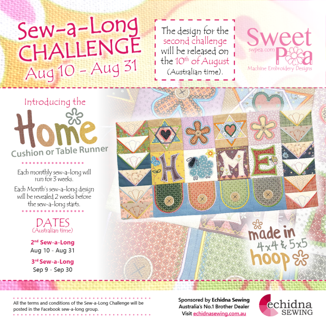 Sweet Pea AUG Sew-a-long Ad Sponsored by Echidna FB