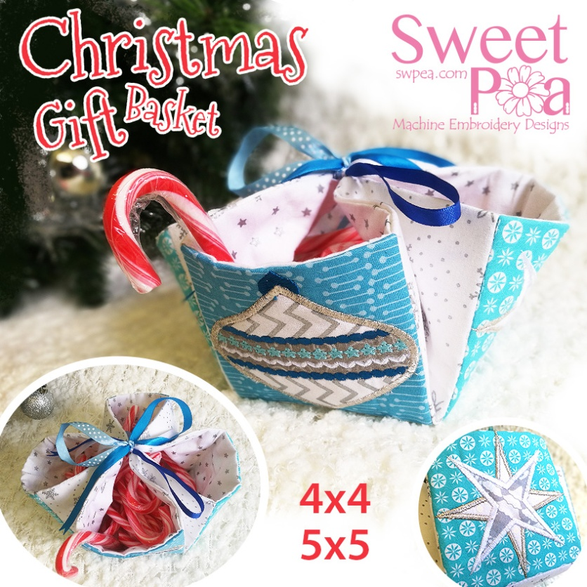 Christmas Gift basket 5x5 4x4 in the hoop