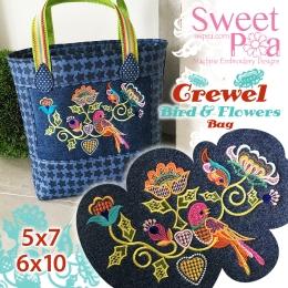 Crewel Bird and Flowers bag 5x7 6x10 in the hoop (1)