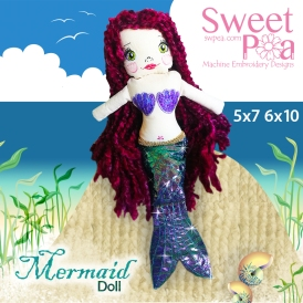 Mermaid Doll 5x7 and 6x10 in the hoop
